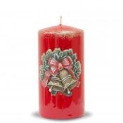 Pl Czerwień Świeca Świąteczne Dzwonki Walec Średni